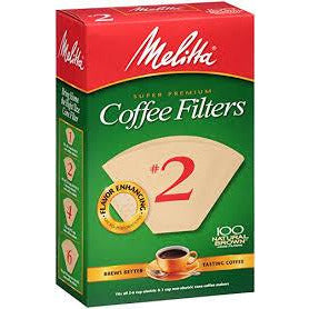 Melitta Cone Coffee Filter #2, 100 Count, Natural Brown