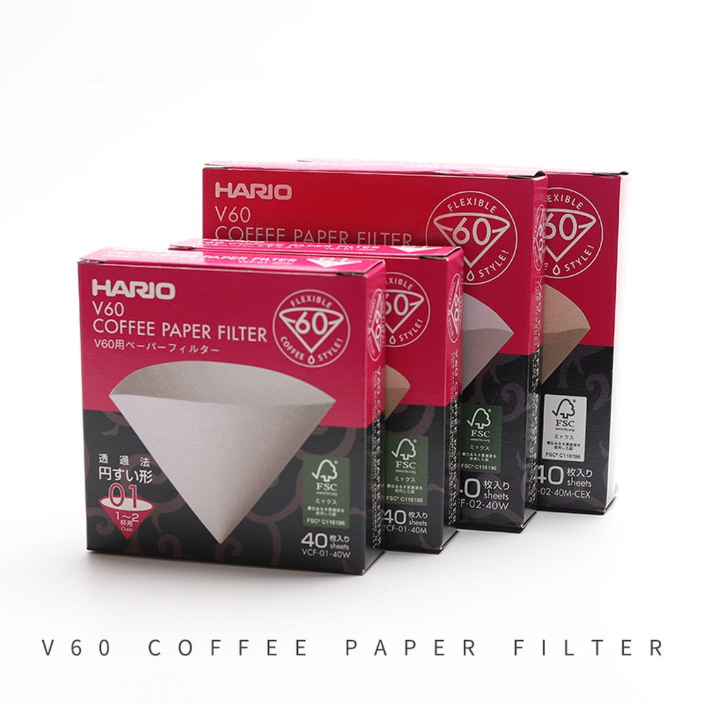 Hario V60 Paper Coffee Filter | 1-4 Cups, Wood or White