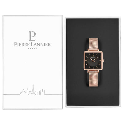 "Pierre Lannier - ""Lecaré"" Dameshorloge 008F938 (Rosé Goud, Zwart, Mesh Band) - horloge in product box shot"