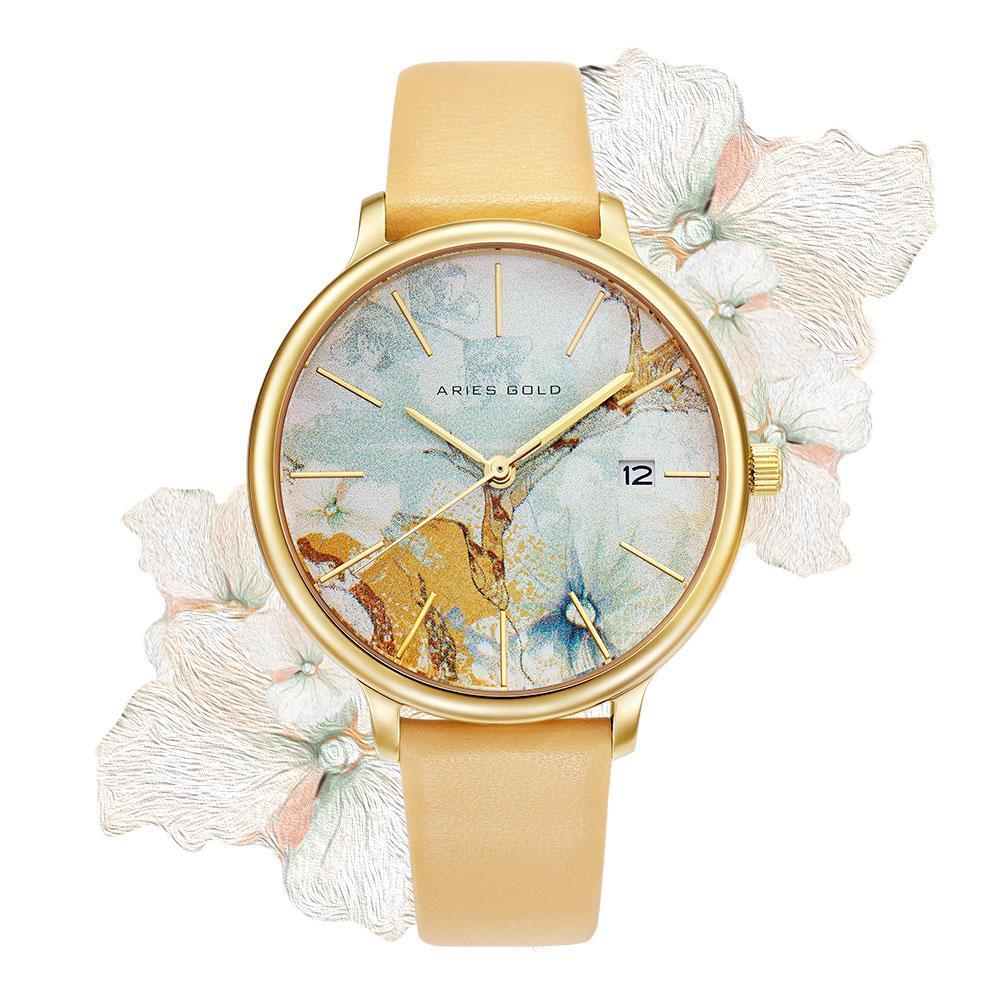 Aries Gold - Fleur Colour your life - L5035 G-ORFL (Goud met oranje bloem)