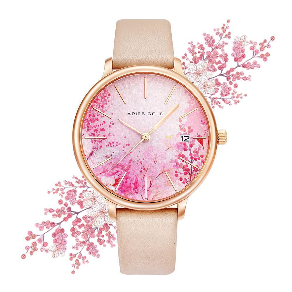 Aries Gold - Fleur Colour your life - L5035 RG-PKFL (Rosé goud met roze bloem)