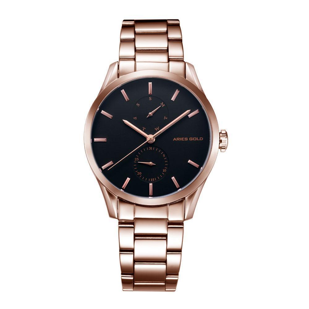 Aries Gold - Liberty Day Date - Dameshorloge L5031 RG-BK (Rosé Goud met Zwart)