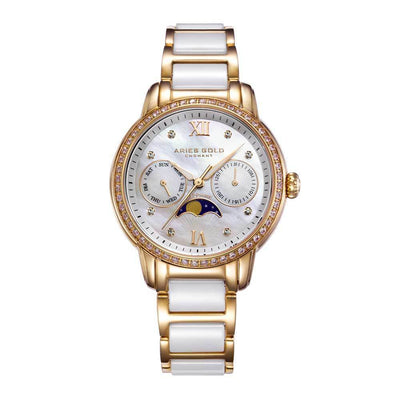 "Aries Gold Vrouwenhorloge Aries Gold - Luna ""Moon Phase"" - L58010L G-MP (Goud met Wit) dameshorloge"