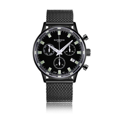 "Blenheim Watch London Unisex horloge Blenheim London® ""Chronomaster"" Pilot - Gunmetal Black Unisex horloge (Zwart)"