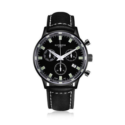 "Blenheim Watch London Unisex horloge Blenheim London® ""Chronomaster"" Pilot - Gunmetal Black - Unisex horloge (Zwart, leren band)"