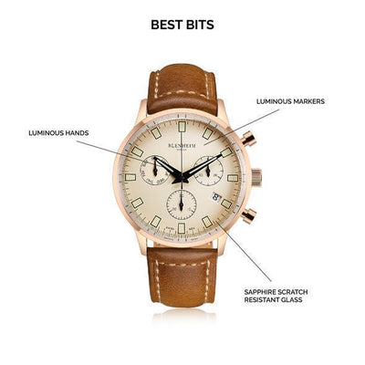 "Blenheim Watch London Unisex horloge Blenheim London® ""Chronomaster"" Pilot - Unisex horloge (Rosé goud met bruin leren band)"