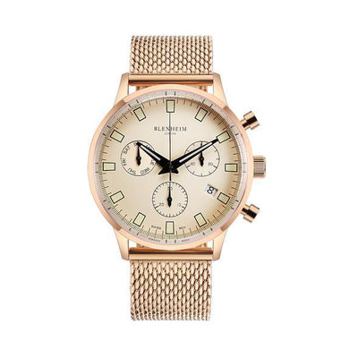 "Blenheim Watch London Unisex horloge Blenheim London® ""Chronomaster"" Pilot - Unisex horloge (Rosé goud met mesh band)"