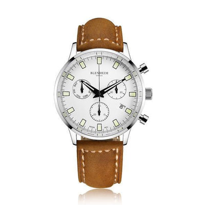 "Blenheim Watch London Unisex horloge Blenheim London® ""Chronomaster"" Pilot - Unisex horloge (Zilver, Wit met Bruin leren band)"