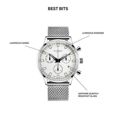 "Blenheim Watch London Unisex horloge Blenheim London® ""Chronomaster"" Pilot - Unisex horloge (Zilver, Wit met ""Mesh"" band)"
