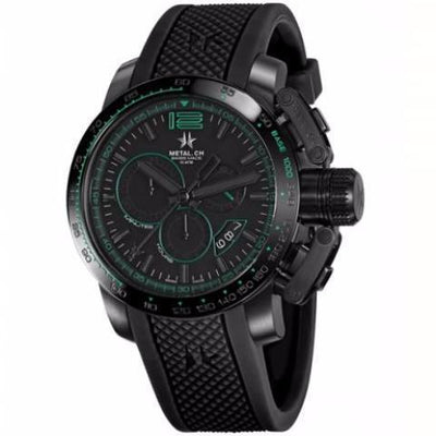 Metal Chronometrie Herenhorloge Metal Chronometrie - Black Series 4480.44 - Heren Horloge (Zwart met groen, zwarte band)