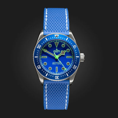 "Metal Chronometrie Herenhorloge Octon Watches - ""Neptune Blue"" - Automatisch Duikershorloge Heren NH35a (Blauw, Rubber + Metalen Band, Aurora Groen Super-LumiNova®, Zilver)"