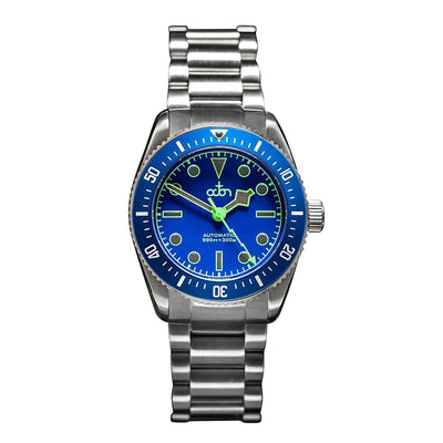 "Octon Watches Unisex horloge Octon Watches - ""Neptune Blue"" - Automatisch Duikershorloge NH35a met Stalen Band (Blauw, Zilver + extra Rubber Band)"