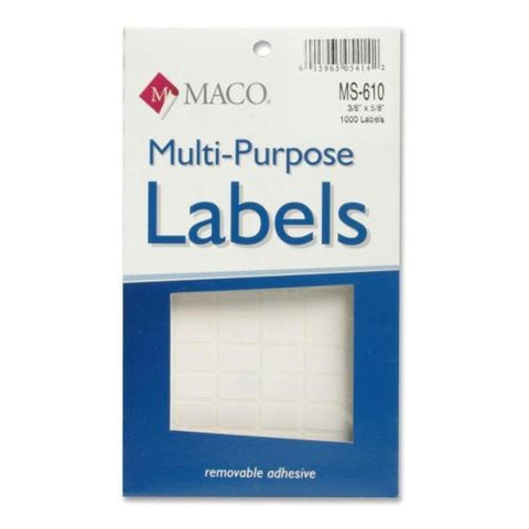 MACO White Rectangular Multi-Purpose Labels