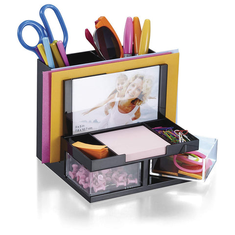 OIC 23112 7-Compartments Desk Organizer With Picture Holder