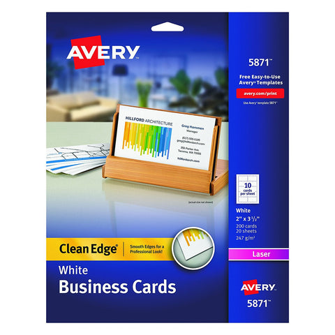 Avery 5871 Clean Edge White Business Cards
