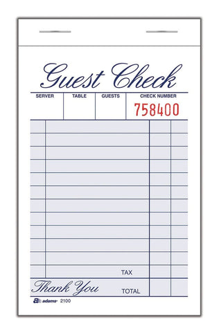 Adams 2100-12 Guest Check Pad