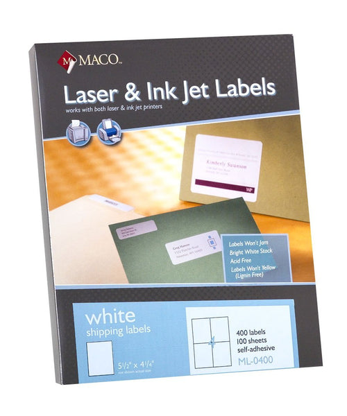 MACO ML-0400 White Shipping Labels