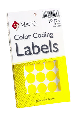 MACO Primary Medium Round Color Labels