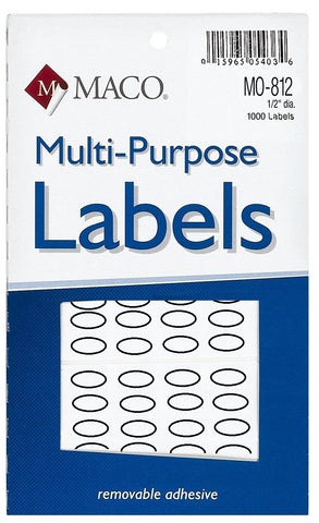 MACO White Oval Multi-Purpose Label
