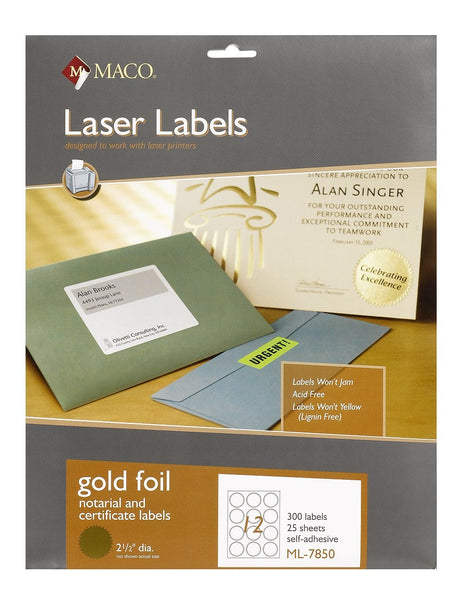 MACO ML-7850 Gold Notarial and Certificate Labels