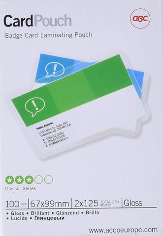 GBC CardPouch Badge Card Laminating Pouch