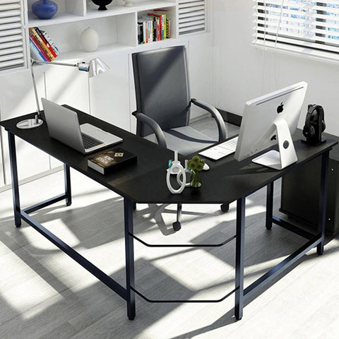 Tribesigns Modern L-Shaped Desk (Black Wood & Metal)