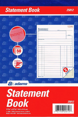 Adams 25812 Statement Book