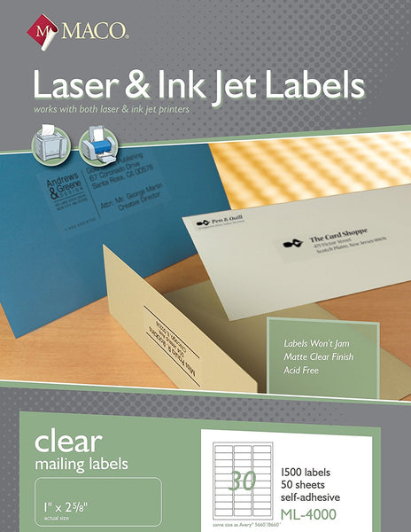 MACO ML-4000 Clear Mailing Labels