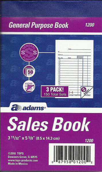 Adams 1200 General Purpose Sales Order Book 2-Part
