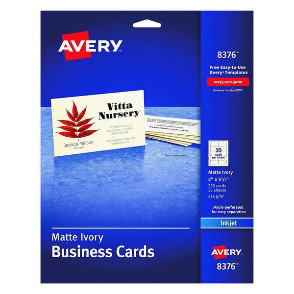 Avery 8376 Matte Ivory Business Cards