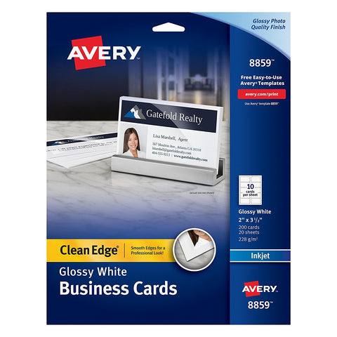 Avery 8859 Clean Edge White Glossy Business Cards