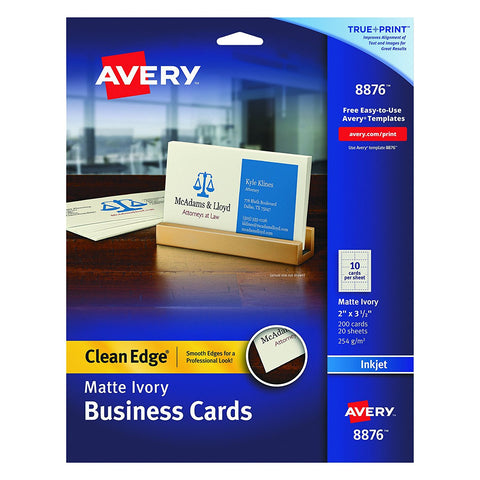 Avery 8876 Matte Ivory Clean Edge Business Cards