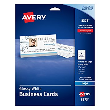 Avery 8373 White Glossy Business Cards