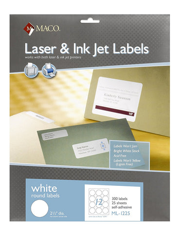 MACO ML-1225 White Round Labels