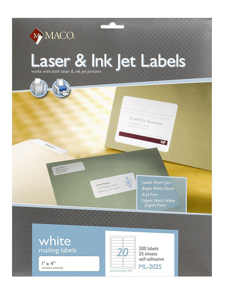 MACO ML-2025 White Mailing Labels
