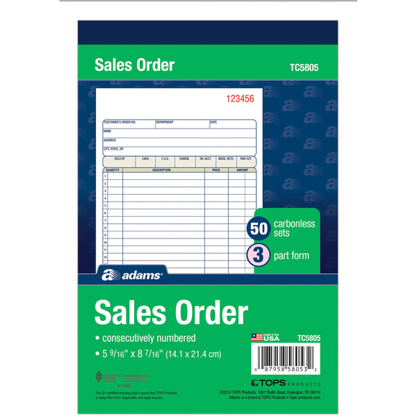 Adams TC5805 Sales Order Book 3-Part