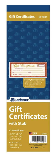 Adams Gift Certificate Book With Stub