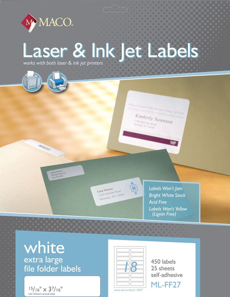MACO ML-FF27 White Extra Large File Folder Labels
