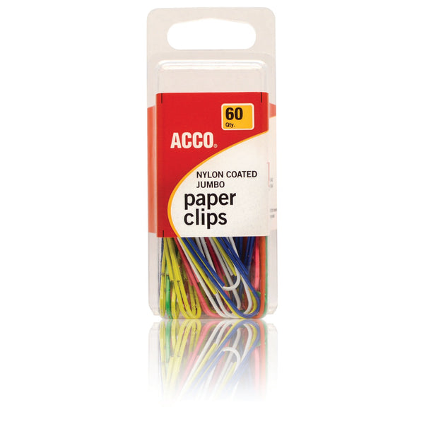 Acco Nylon Coated Jumbo Paper Clips Assorted Color