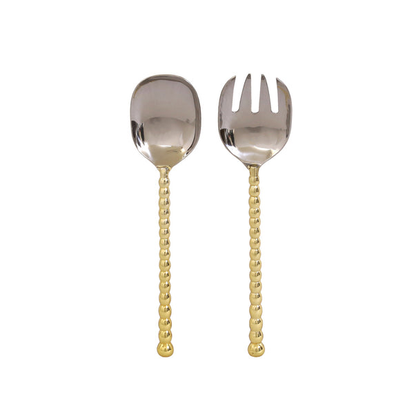 Raj Palace Salad Server Set in Brass & Stainless Steel