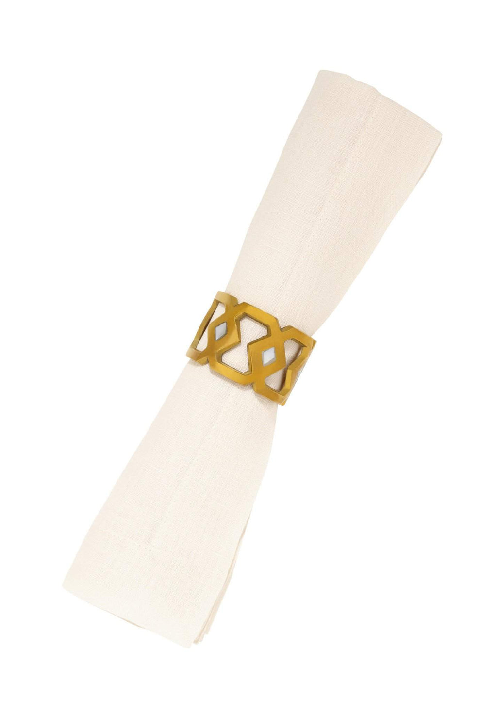 Monroe Napkin Ring in Brass & Mother of Pearl