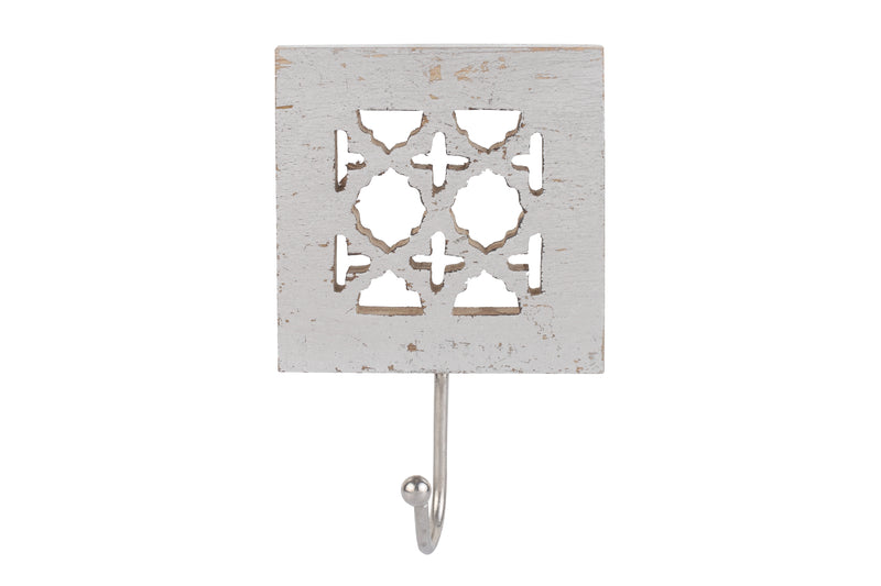 Agra Wall Hook in Distressed Silver
