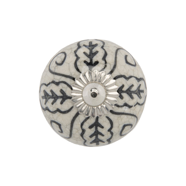 Chambal Gardens Painted Leaf  Ceramic Knob Set/12 in Grey & White
