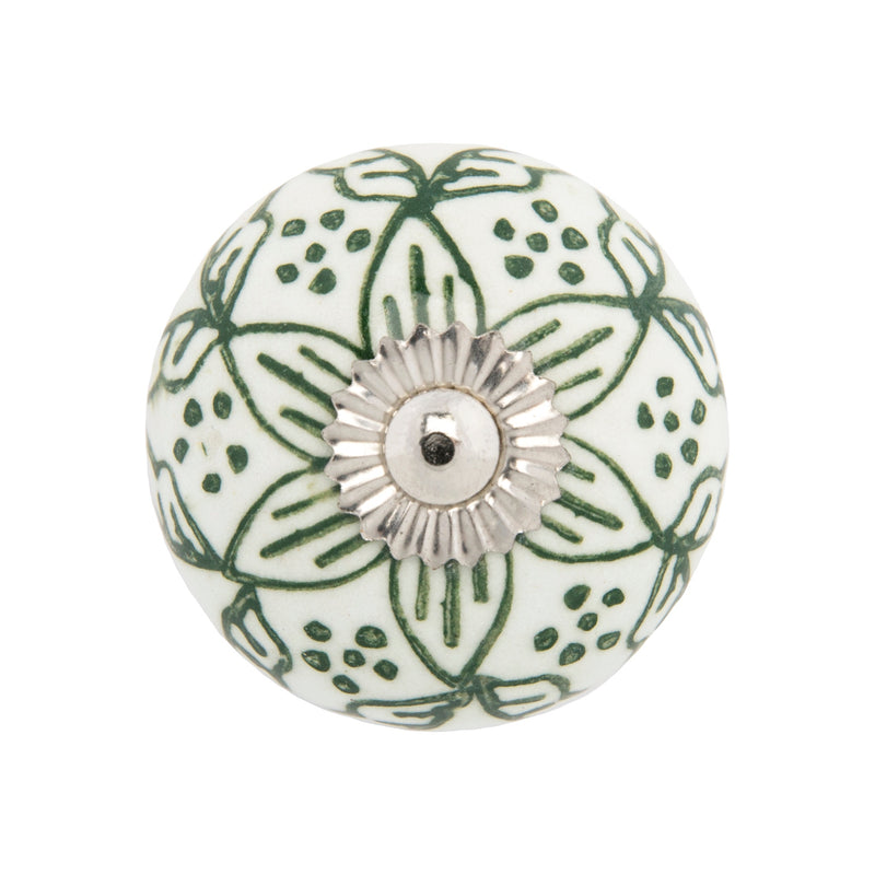 Chambal Gardens Painted Lily Ceramic Knob Set/12 in White & Olive