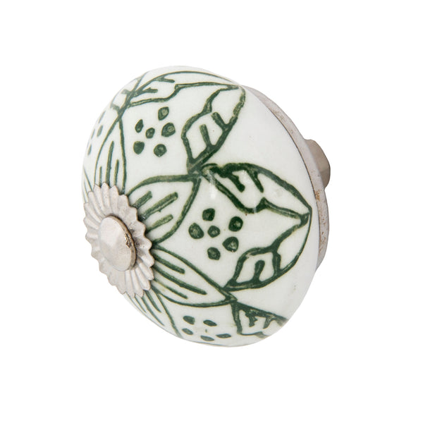 Chambal Gardens Painted Lily Ceramic Knob Set