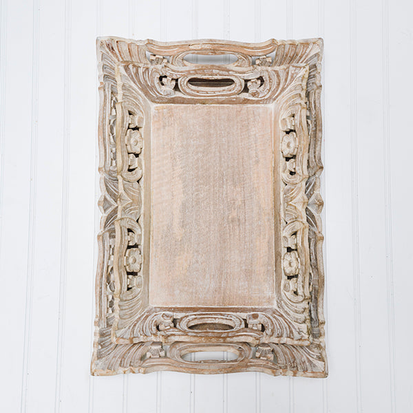 Wisteria Tray Small  in Distressed Ivory over Natural