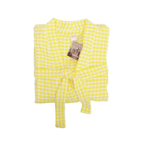 Au Natural Organic Cotton Bath Robe in Yellow & Off White