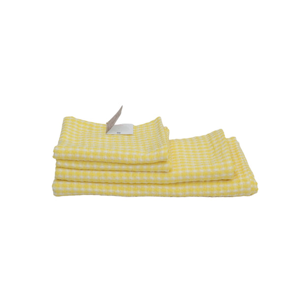 Au Natural Organic Cotton Bath Towel Set of 4 in Yellow & Off White
