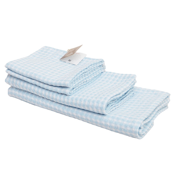 Au Natural Organic Cotton Bath Towel Set of 4 in Blue & Off White