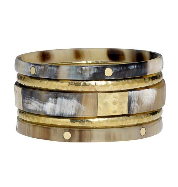 Bachata Bangle Set Horn and Hammered Brass